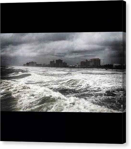 Hurricanes Canvas Print - Taken From The #pier During A by Tony Sinisgalli