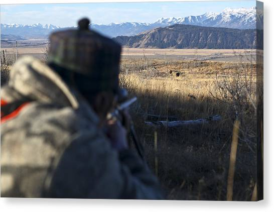 Teton National Forest Canvas Print - Taking Aim During A Bison Hunt by Drew Rush