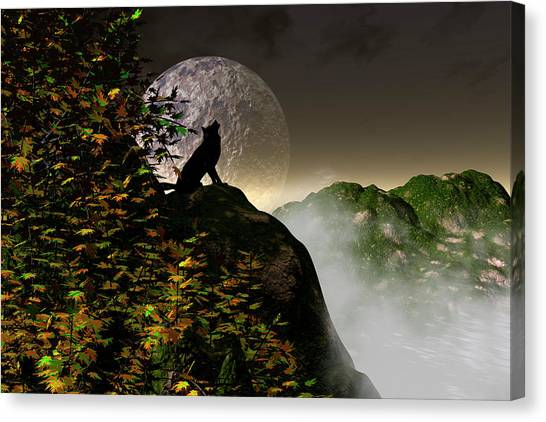 Wolf Moon Canvas Print - Talk To Me by Claude McCoy