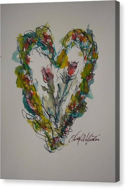 Tall Tell Heart In Love Canvas Print by Edward Wolverton