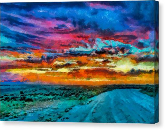 Taos Sunset Iv Wc Canvas Print