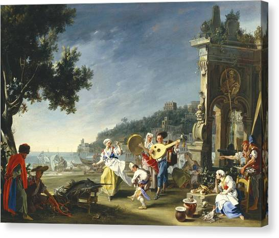 Tambourines Canvas Print - Tarantella At Mergellina by Filippo Falciatore