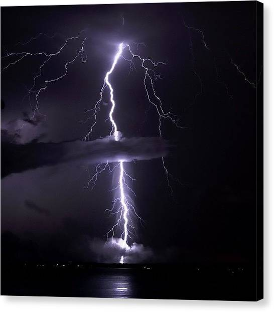 Lightning Canvas Print - ...target Locked ...firing Phasers by Louis Bruno