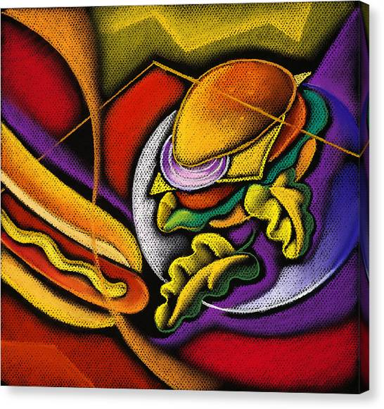 Hot Dogs Canvas Print - Lunchtime by Leon Zernitsky