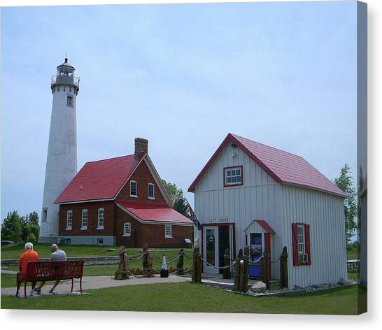 Tawas Point Lighthouse And Store Canvas Print