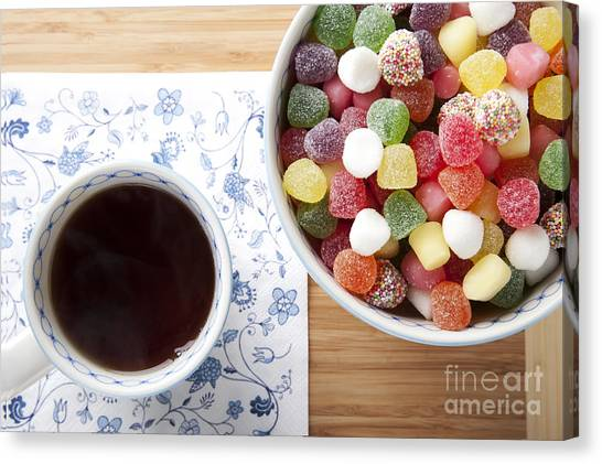 Sweet Tea Canvas Print - Tea And Candies by Charlotte Lake