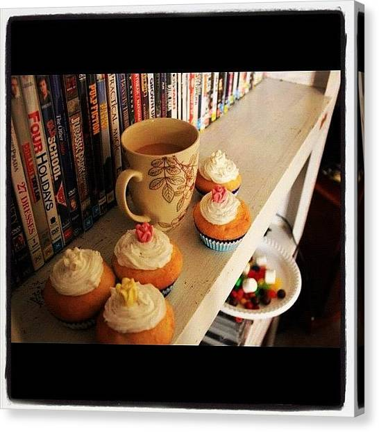 Tea Canvas Print - Tea And Cupcake Memories #memories by Tabitha Horton