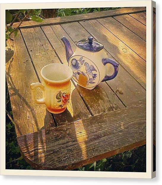 Russian Canvas Print - #tea In The #garden ... #teapot #cup by Alexandra Cook