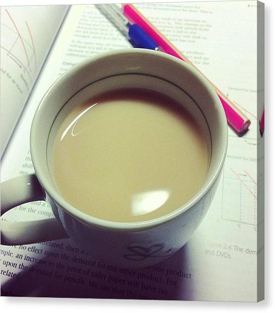 Milk Canvas Print - Tea Is Essential For Life by Claire Raphaela
