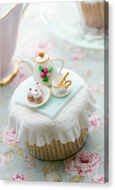 Tea Set Canvas Print - Tea Party Cupcake by Ruth Black