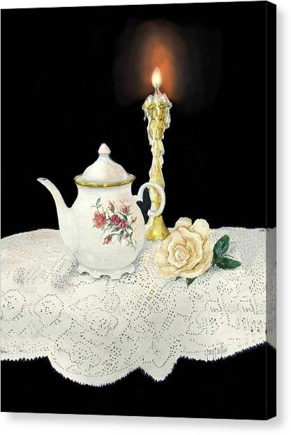 Tea Pot And Rose Canvas Print