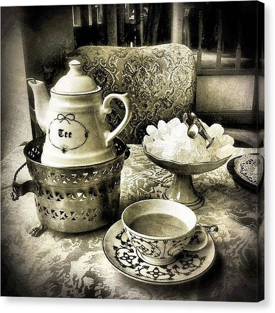Tea Canvas Print - Tea Time by Cornelia Woerster