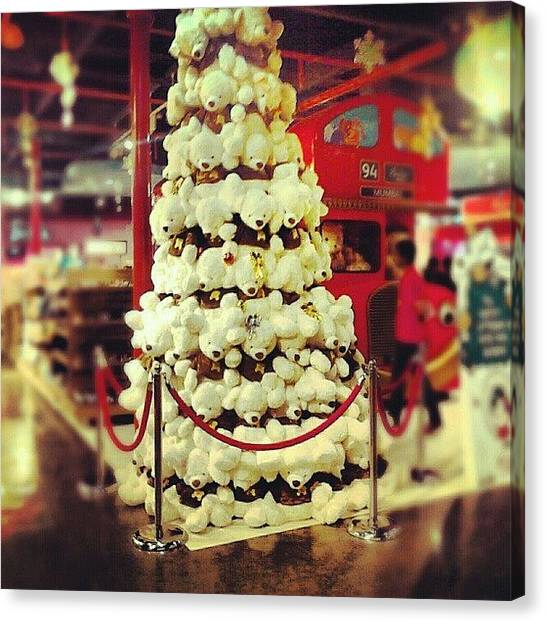 Teddy Bears Canvas Print - Teddy Bear Christmas Tree At Hamleys by Prerna Obhan