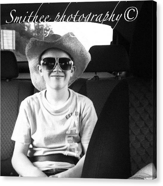 Teenager Canvas Print - #teenager #cowboyhat #sunglasses #kid by S Smithee