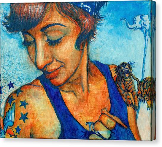 Tegan Tattoos Canvas Print by Emily Lounsbury