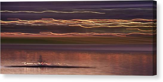 Lake Sunsets Canvas Print - Tempe Town Lake Rowers Abstract 2 by Dave Dilli