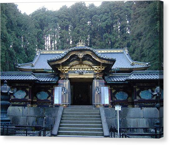 Samurai Canvas Print - Temple Building by Naxart Studio