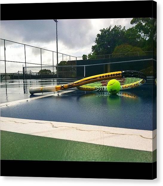 Tennis Canvas Print - Tennis In The Rain Today. #gloomy by Caden Gusman