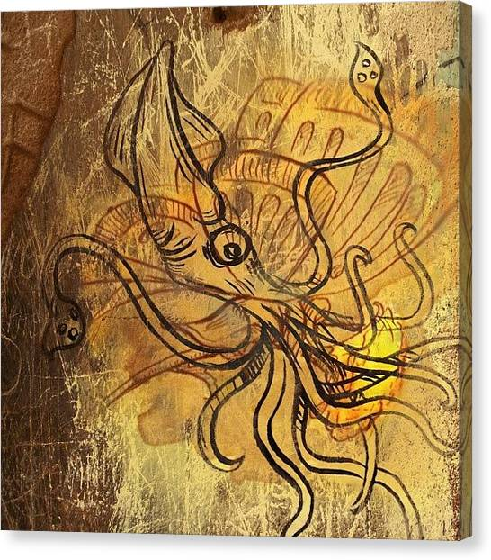 Squids Canvas Print - #textured #art #thingy by Jeff Reinhardt