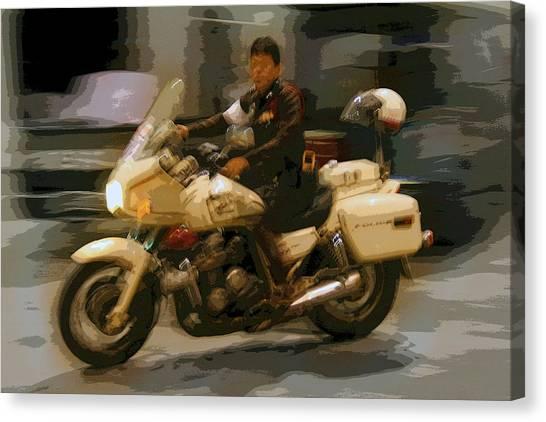 Thai Motorbike Police Canvas Print by Kantilal Patel