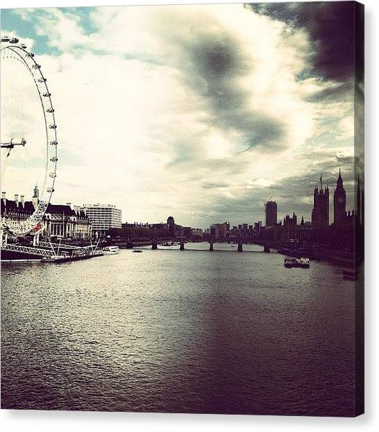 London Eye Canvas Print - Thames by Josh Cowls