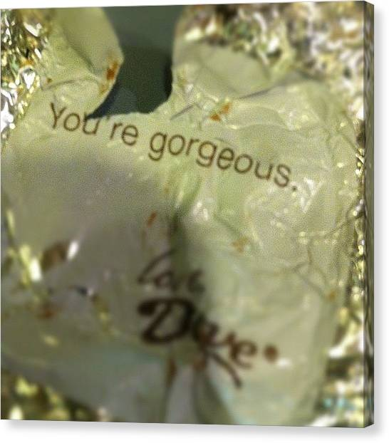 Dove Canvas Print - Thanks #chocolate #wrapper. You Too by Ryan S Burkett Photography