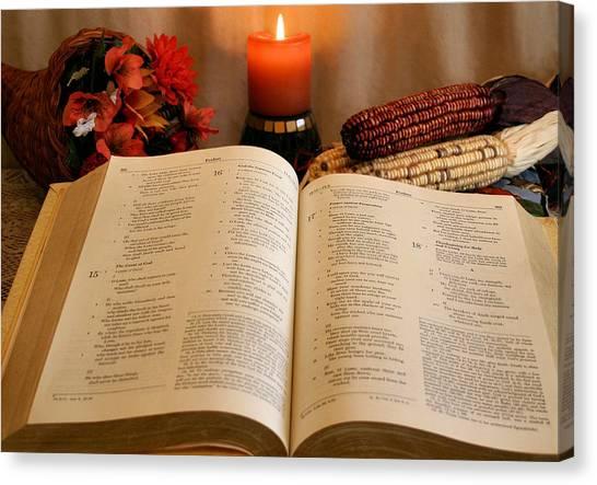 Indian Corn Canvas Print - Thanksgiving Psalm 18 by Kristin Elmquist
