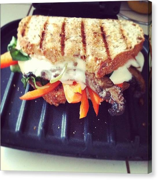 Sandwich Canvas Print - That's How I Panini. #yum #food by Allison Faulkner