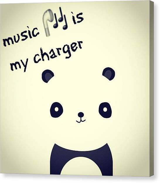 Panda Canvas Print - That's Why I Love Music! #music #panda by Ivan Braginski