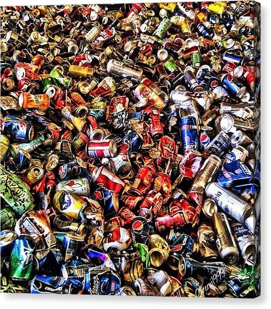 Beer Can Canvas Print - The after Party. #afterparty #cans by Jorge Olvera