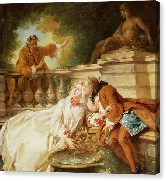 Rococo Art Canvas Print - The Alarm by Jean Francois de Troy