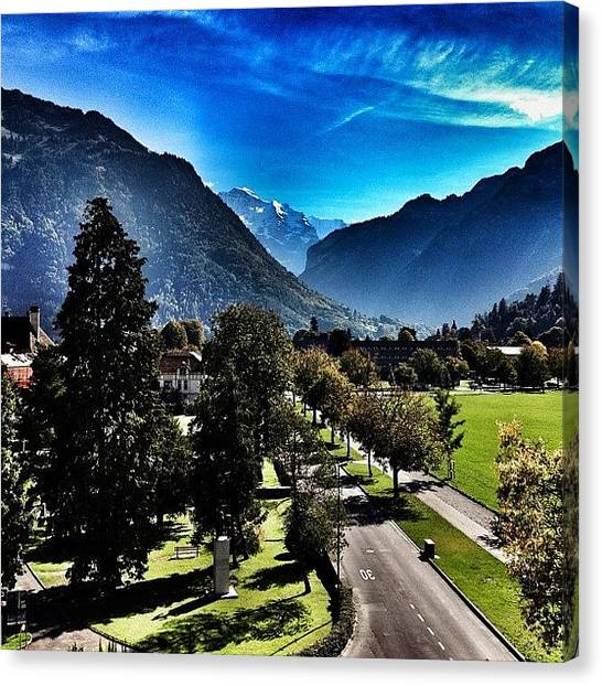Swiss Canvas Print - The Alps As Seen From Our Room In by Dave And Deb