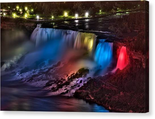 The American Falls Illuminated With Colors Canvas Print