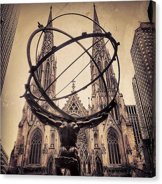 Religious Canvas Print - The Atlas & St. Patrick's Cathedral - by Joel Lopez