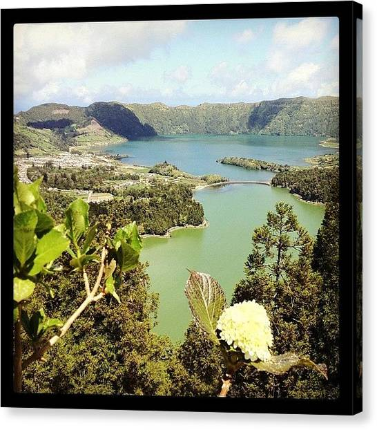 Volcanoes Canvas Print - The Azores Sete Cidades Logoa Verde by Tim Paul