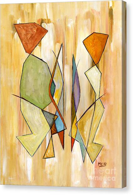Modern Art Beige Orange Green Abstract Color Blocks Barcelonian Couple Canvas Print by Marie Christine Belkadi