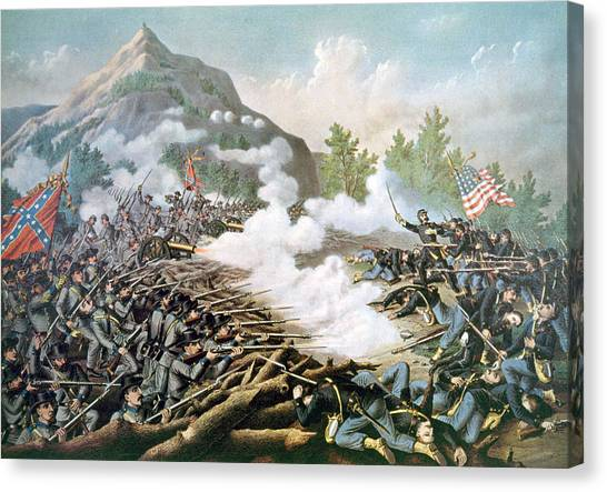 Jt History Canvas Print - The Battle Of Kennesaw Mountain, June by Everett