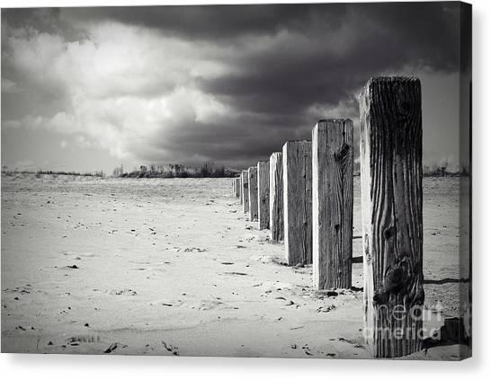 The Beach Monochrome Canvas Print by Stephen Clarridge