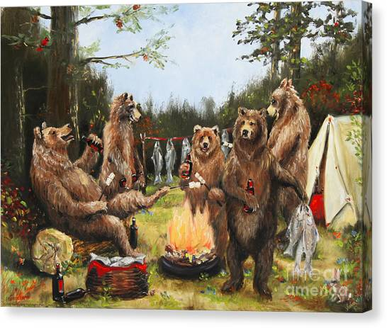 The Bear Party Canvas Print by Stella Violano