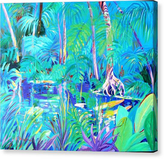 Canvas Print featuring the painting The Blue Pool No 3 by Virginia McGowan