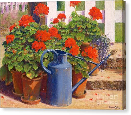 Gardens Canvas Print - The Blue Watering Can by Anthony Rule