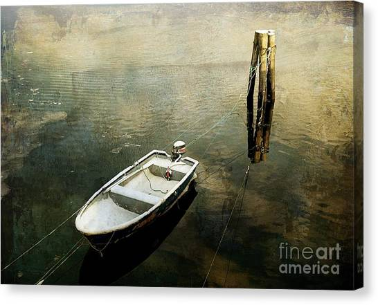 The Boat In Winter Canvas Print