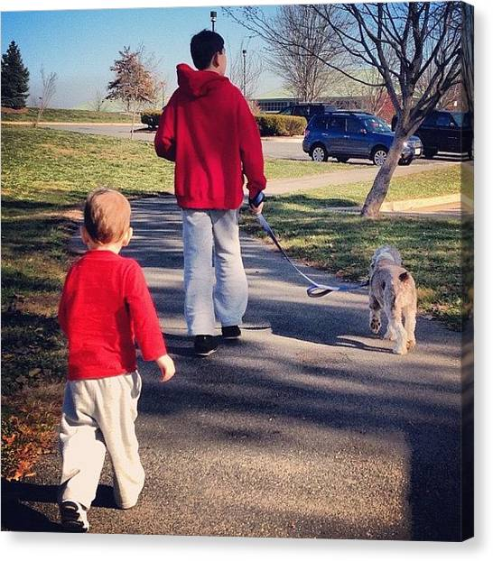 Thanksgiving Canvas Print - The Boys And #dog On The Way Back To by Simon Prickett