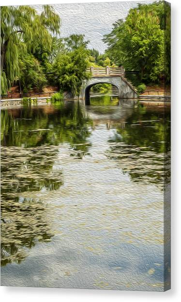 The Bridge On The Pond. Canvas Print