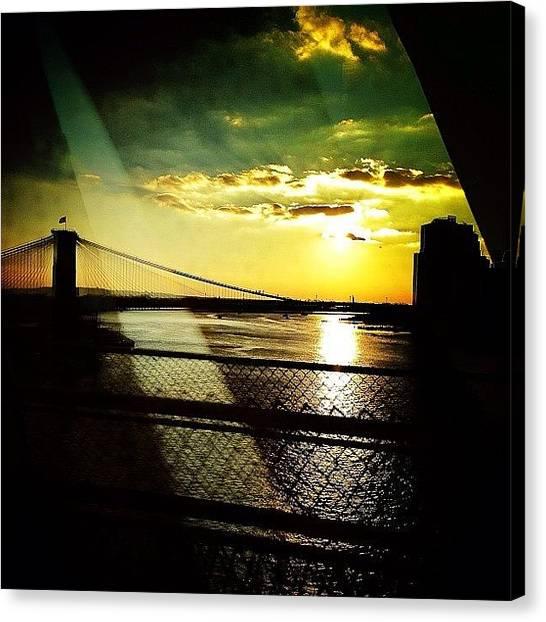 Sunsets Canvas Print - The Brooklyn Bridge At Dusk by Natasha Marco