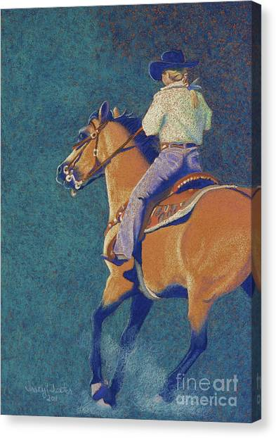 Barrel Racing Canvas Print - The Buckskin by Tracy L Teeter