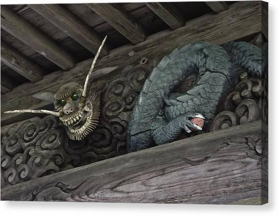 The Carved Shrine Dragon Canvas Print