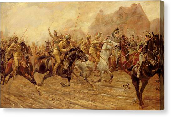 War Horse Canvas Print - The Charge Of The Bengal Lancers At Neuve Chapelle by Derville Rowlandson
