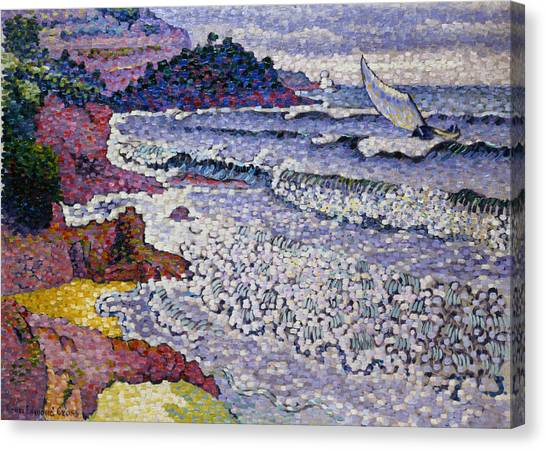 Pointillism Canvas Print - The Choppy Sea by Henri-Edmond Cross
