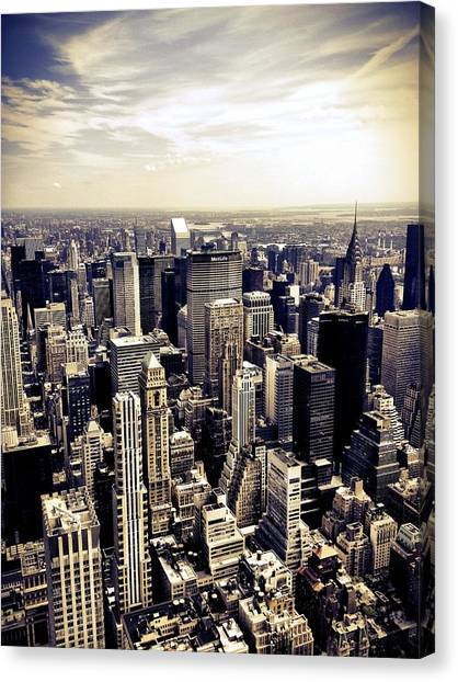 Times Square Canvas Print - The Chrysler Building And Skyscrapers Of New York City by Vivienne Gucwa
